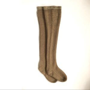Free People Taupe Knit Long Socks